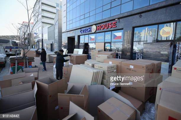 Workers prepare the Czech House across the street from the Gangneung Olympic Village ahead of the PyeongChang 2018 Winter Olympic Games on February 7...