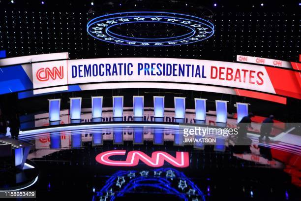 Workers prepare the debate stage at the Fox Theater in Detroit Michigan on July 30 ahead of the 2nd Democratic Presidential Debate Leading liberals...