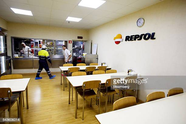 Workers prepare the dining room aboard the Casablanca oil platform operated by Repsol SA in the Mediterranean Sea off the coast of Tarragona Spain on...