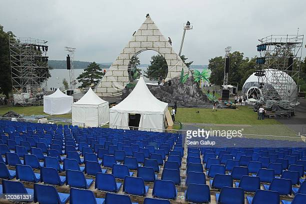 Workers prepare the pyramid for the Seefestspiele 2011 music festival ahead of the performance of Mozart's The Magic Flute at Strandbad Wannsee on...