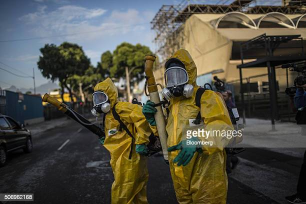 Workers prepare to fumigate the Sambadrome ahead of Carnival celebrations in Rio de Janeiro Brazil on Tuesday Jan 26 2016 The operation is part of...