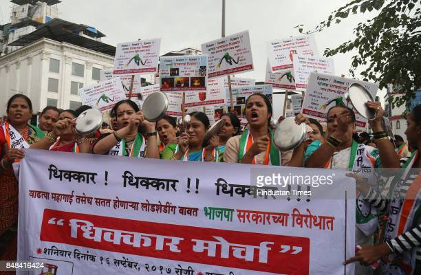 NCP workers protest against inflation and rising petroleum product prices on September 16 2017 in Mumbai India The rise in petrol and diesel prices...
