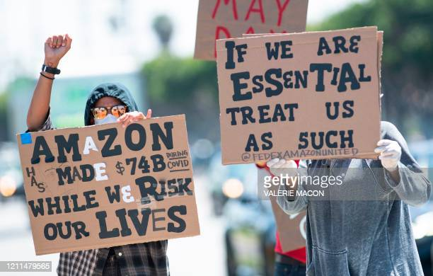 Workers protest against the failure from their employers to provide adequate protections in the workplace of the Amazon delivery hub on National May...