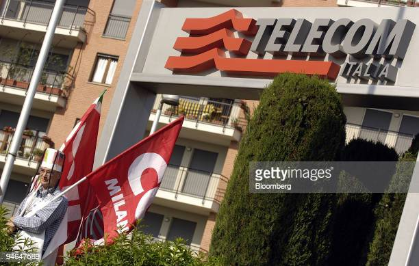 Workers protest during Telecom Italia's annual shareholders meeting, in Milan, Monday, April 16, 2007. Telefonica SA and a group of Italian investors...