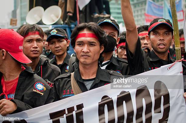 Workers protest in central Jakarta, Indonesia