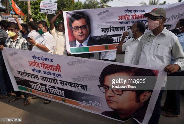 BJP workers protest outside the Alibag Court after Arnab Goswami's arrest in Alibag on November 4 2020 in Mumbai India Arnab Goswami Republic TV's...