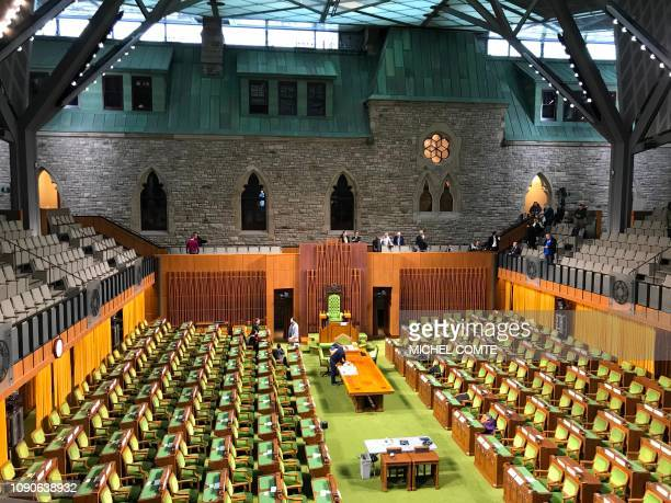 Workers put last touches on the interior inside the West Block of the House of Commons during a media tour on January 15 2019 in Ottawa Canadian...