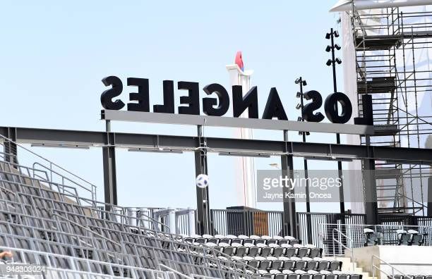 Workers put the finishing touches on the Banc of California Stadium the new home of the Los Angeles FC on April 18 2018 in Los Angeles California