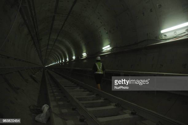 Workers quivered readiness rail on Mas Rapid Transiting at the station to HI Jakarta June2016 Mass Progres construction of mass rapid transit Jakarta...