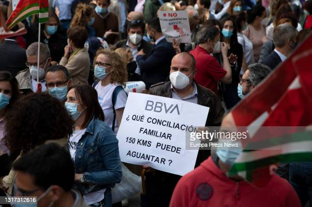 Workers rally in front of one of the branches against layoffs, on May 10 in Seville . First, BBVA's management initially proposed the dismissal of...