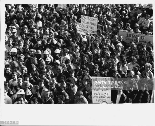 Workers Rally of Parliament house about workers compensation Prorl. June 07, 1989. .