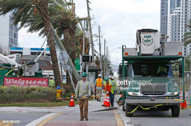 Workers reconnect a main power line at Collins Avenue in the Hurricane Irma aftermath on Tuesday Sept 12 in Sunny Isles Beach Fla