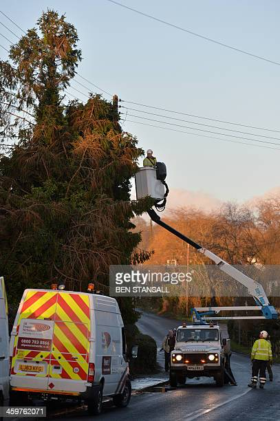 Workers remove fallen trees from powerlines in the village of Grafty Green in Kent southern England on December 30 2013 where parts of the village...