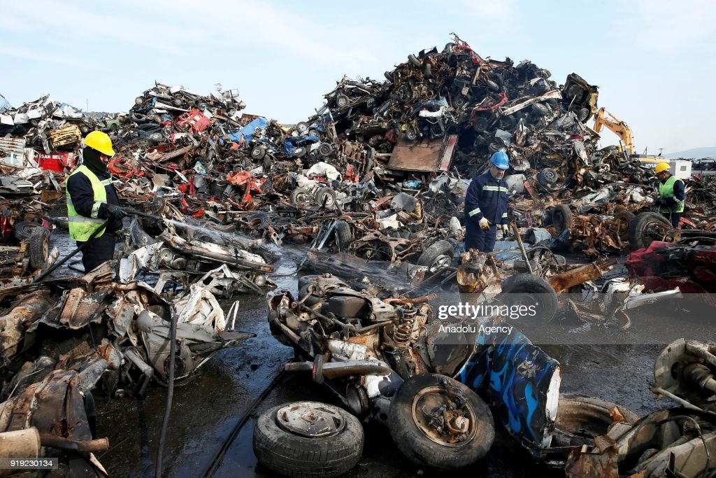 Old junk cars are recycled at scrap yard in Izmir Pictures   Getty ...