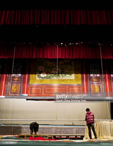 Workers removed curtain from the stage after the last show performed by 'Feng Sheng Hui Theatre' at the Sunbeam Theatre Sunbeam Theatre where Feng...