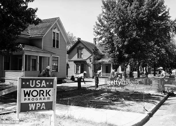 WPA Workers Repairing Sidewalks
