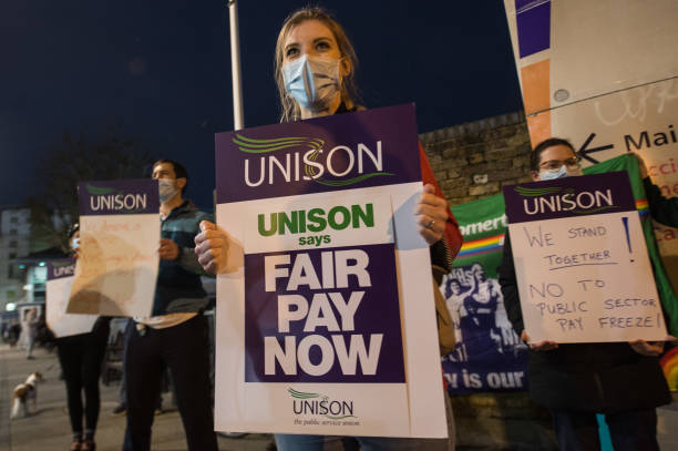GBR: Public Sector NHS Workers From The Unite Union Protest Against The Chancellor's Pay Freeze Announcement