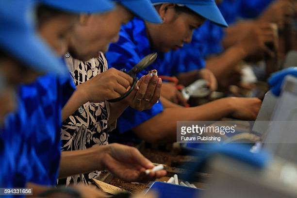 Workers roll clove cigarettes at a factory on August 22, 2016 in Kudus, Indonesia. Indonesia is the fifth largest cigarette producing market, with an...