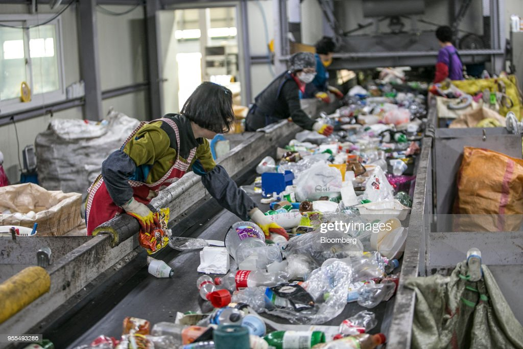 Operations At Recycling Facilities As China's Ban On Waste Products Causes Trash Pile-ups : News Photo