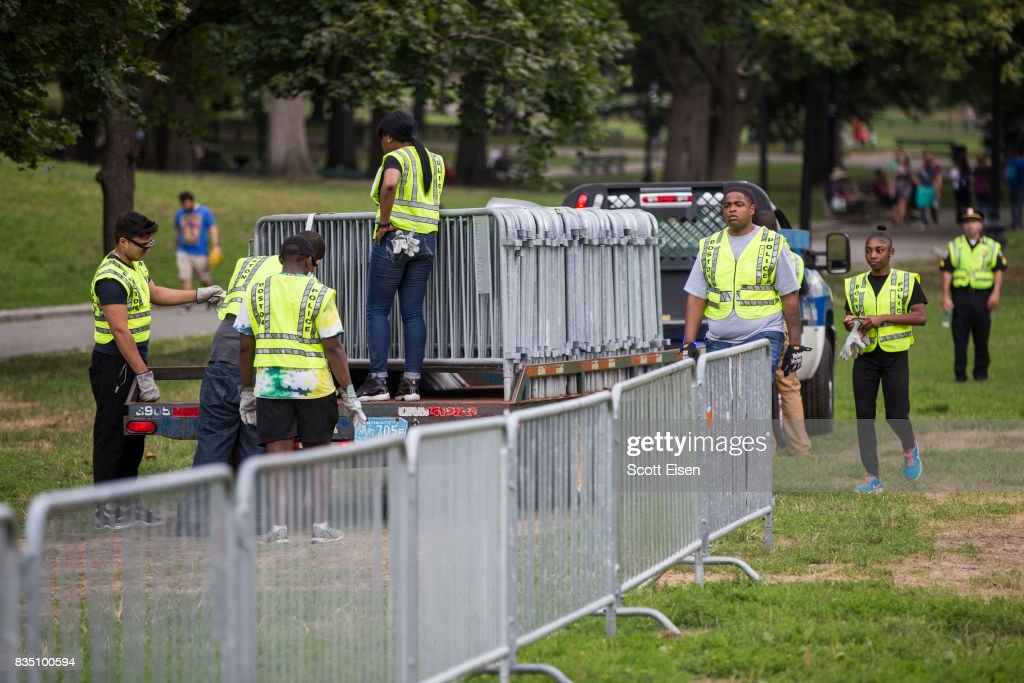 Workers set up barricades on the Boston Common where a 'Free Speech' rally is scheduled and a large rally against hate In solidarity with victims of Charlotestville will converge on August 18, 2017 in Boston, Massachusetts.