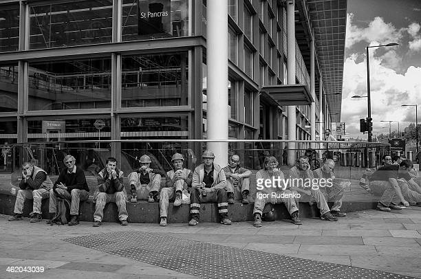 CONTENT] Workers sitting at StPankras/King Cross at the time when reconstruction performed at the area