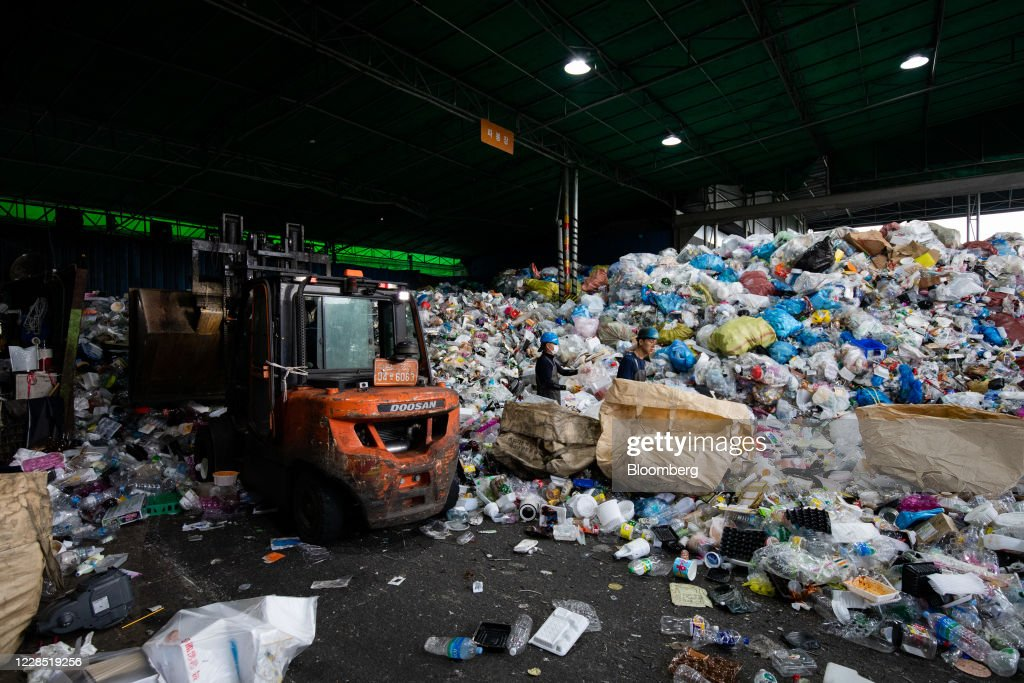 Inside Yongin City Recycling Center As Pandemic Paralyzes Asian Plastic Recycling Industry : News Photo