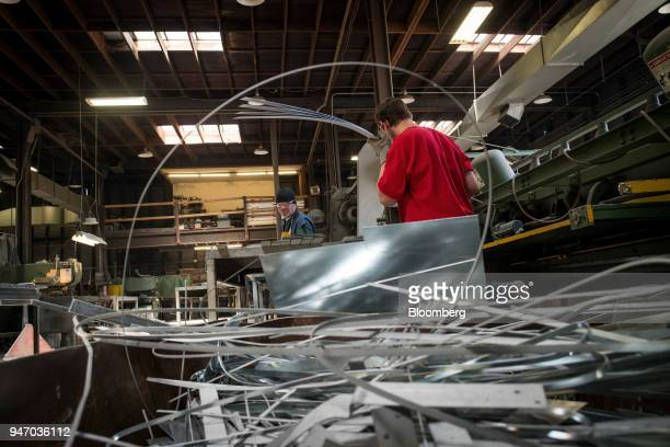 Workers stack cut metal at the Metal Manufacturing Co facility in Sacramento California US on Thursday April 12 2018 The Federal Reserve is scheduled...