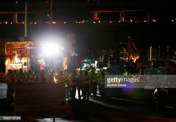 Workers stage at Columbia Gas of Massachusetts in Lawrence MA on Sep 13 2018 More than 60 fires and at least three gas explosions rocked Lawrence...