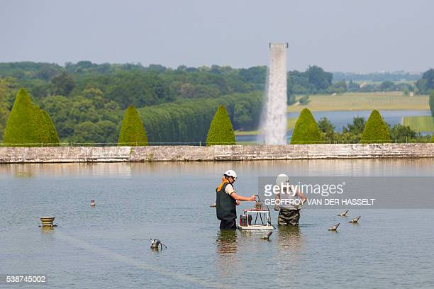 Workers stand in water near Danish artist Olafur Eliasson 'Waterfall' installation on June 8 2016 in the gardens of the Chateau de Versailles...