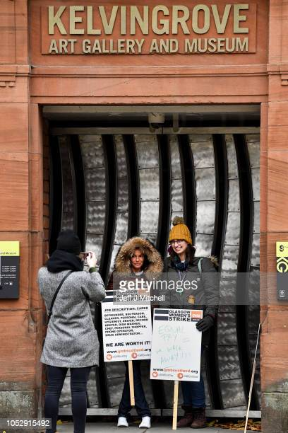 Workers stand on a picket line at outside the Kelvingrove Art Gallery and Museum on October 24, 2018 in Glasgow, Scotland. Glasgow union leaders have...