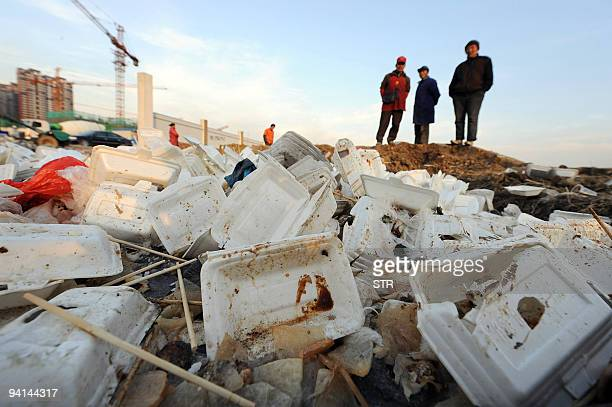 Workers stand over piles of used white plastic food containers at a construction site in Hefei in eastern China's Anhui province on December 6 2009...