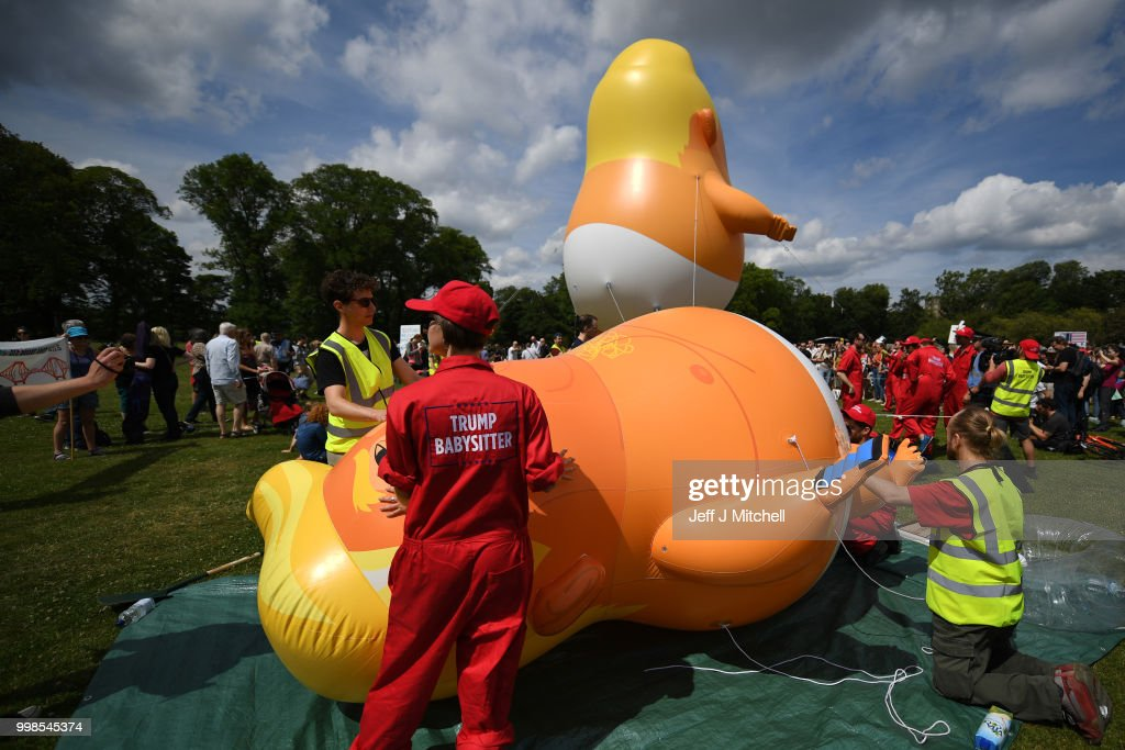 Scotland Protests At The Visit Of United States President Donald Trump : News Photo