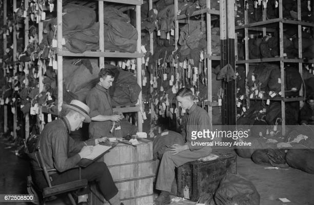 Workers Tracing Property of Soldiers upon Return from Europe after World War I New York City New York USA Bain News Service 1919