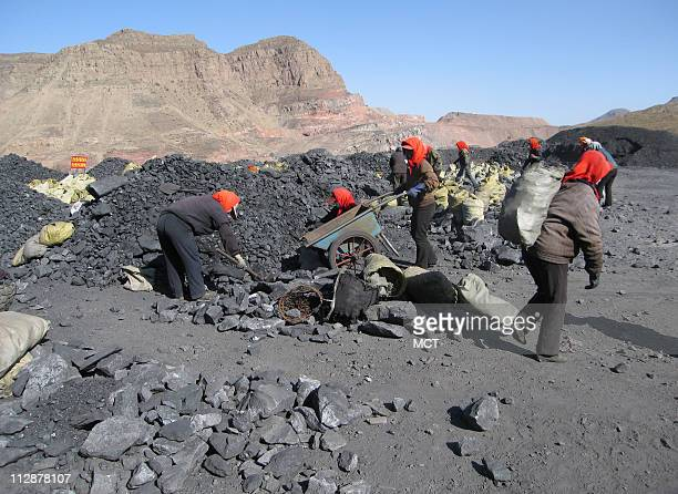 Workers transport coal in carts at China's Ruqigou coal field in the nation's west October 29 2008
