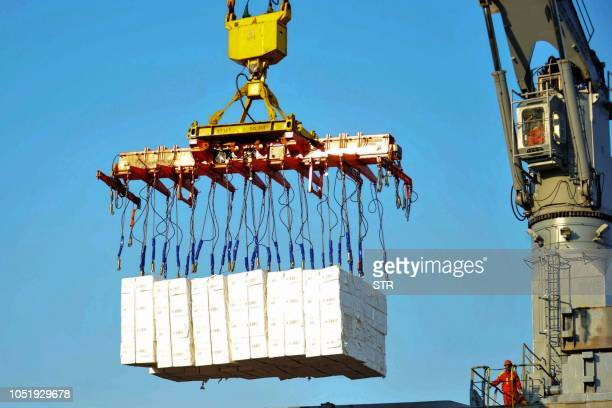 Workers upload piles of imported paper at a port in Qingdao in China's eastern Shandong province on October 12 2018 China's trade surplus with the...