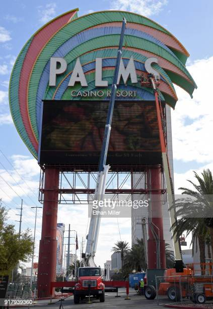 YESCO workers use a crane to remove the 14foottall letters on the Palms Casino Resort marquee as the sign is deconstructed as part of a USD 485...