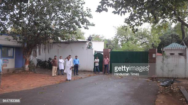 RJD workers volunteer for security at the residence of Rabri Devi after she surrendered her security along with her sons Tejashwi and Tej Pratap...