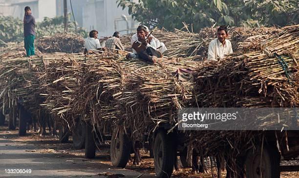 Workers wait to sell harvested sugar cane outside a sugar mill in Modinagar Uttar Pradesh India on Monday Nov 14 2011 Sugar mills in Uttar Pradesh...