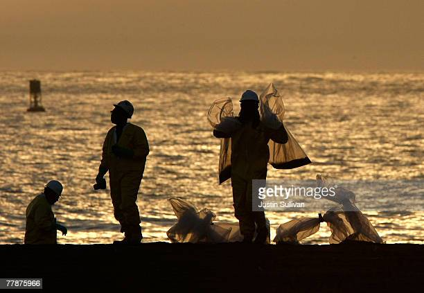 Workers with NRC Environmental Services carry bags of oilsoaked sand while cleaning up Rodeo Beach November 12 2007 near Muir Beach California A...