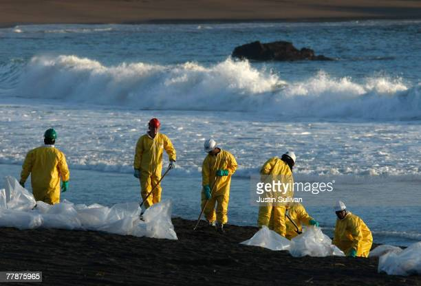 Workers with NRC Environmental Services sift through oilsoaked sand on Rodeo Beach November 12 2007 near Muir Beach California A criminal...