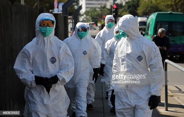 Workers with protective gear walk into a restricted area where chickens are being culled in Hong Kong on December 31 after the deadly H7N9 virus was...