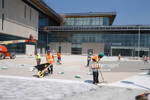 TORONTO ON JULY 22 Workers work on the outside of facility Tour of new Pan Am Games facilityAtos Markham Pan Am Centre in Unionvilleshots of the new...