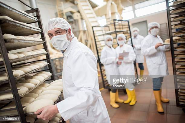 Workers working at a food factory