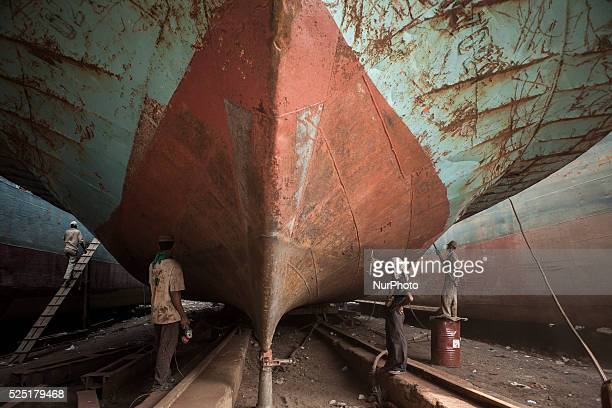 Workers working at dockyard in Keranigonj. There are more than 25 ship building dockyards on the other side of River Buriganga where ships, launches,...