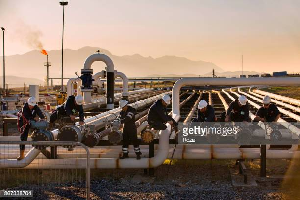 Workers working at the Kawergosk refinery. The oil production in Iraqi Kurdistan is supposed to represent 30% of the Iraqi production, according to...