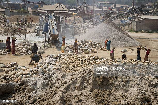 Workers working in a Stone Crashing Plant in Sylhet Bangladesh A huge percentage of stone is being supplied to all over the Bangladesh from Sylhet...