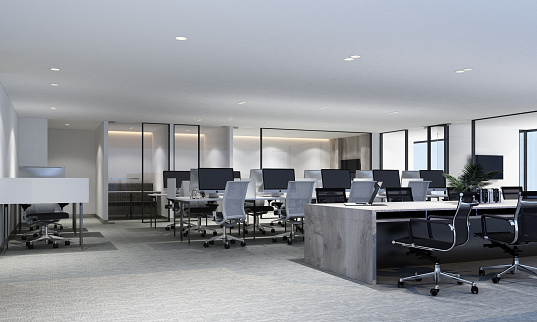 Working area in modern office with carpet floor and meeting room. interior 3d rendering 1177487069