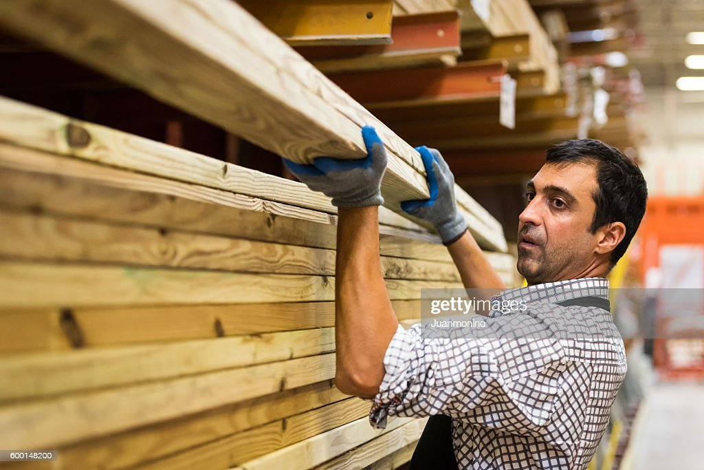 Working at a timber/lumber warehouse : Stock Photo
