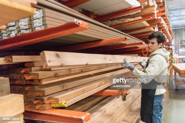 Working at a timber/lumber warehouse