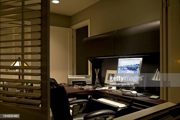 working at home office night. no one. - screen saver stock photos and pictures